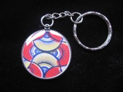 Keychain graphic, African Wax motif, set in resin