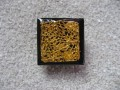 RING square, gold print, on black background, resin