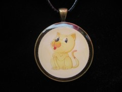 Fancy PENDANT, Crackling Kitten, Set in Resin