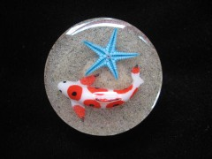 Large ring, fish and blue starfish, on resin sand background