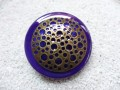 Very large ring, engraved bronze perforated, on purple resin