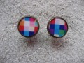 Cufflinks, multicolored pixels, set in resin