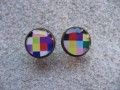 Cufflinks, Colorful pixel pattern, set in resin
