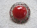 Large graphic ring, red cabochon, with multicolored resin sequins