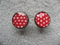 Cufflinks, white dots on a red background, set in resin