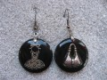 Asymmetrical earrings, Girly Fashion, on black resin