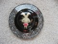 Very very large ring, kawaii rabbit, on a black and silver cabochon background in resin