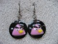 Kawaii earrings, Gang of Piafs, on a black resin background