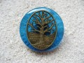 Large Zen ring, Bronze tree of life, on a blue resin background