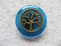 Zen ring, Bronze tree of life, on a blue resin background