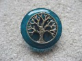 Zen ring, silver tree of life, on blue resin background