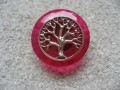 Zen ring, silver tree of life, on resin fuchsia background