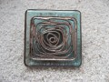 Very large square ring, Silver graphic print, on blue resin background