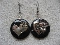 Asymmetrical earrings, Love in Heart, on black resin