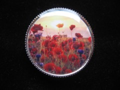 Français Anglais Fancy RING, Poppies, set in resin