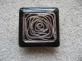 Large square ring, Silver graphic print, on black resin background