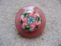 Large ring, psychedelic cabochon in fimo, on an red resin background